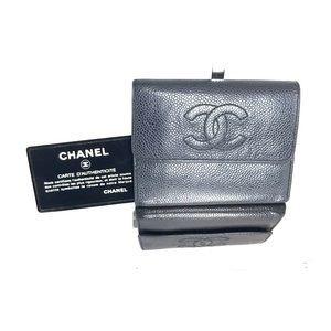 CHANEL TRIFOLD WALLET CAVIAR LEATHER